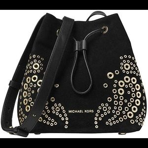 Michael Kors Cary Grommeted Suede Bucket Bag